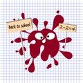 Red blot in a school notebook