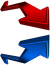 Red and blue 3D arrows Stock Photography