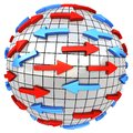 Red and blue arrows on abstract globe Royalty Free Stock Photo