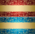 Red and blue vector backgrounds with golden pattern - cards Royalty Free Stock Photo