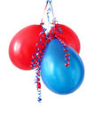 Red and Blue Balloons Stock Images