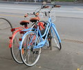 Red and Blue bicycles Stock Image