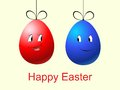 Red blue cartoon easter eggs Stock Image