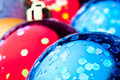 Red and blue christmas balls Stock Image