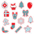 Red and blue christmas icons Stock Photos