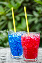 Red and blue cocktails Royalty Free Stock Photo
