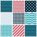 Red Blue Colorful Wave Vector Abstract Geometric Seamless Pattern Design Collection Decoration Web Royalty Free Stock Photo