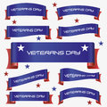 Red and blue curved veterans day ribbon banners eps10 Royalty Free Stock Photo