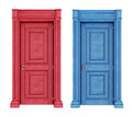 Red and blue doors vintage doors Stock Image