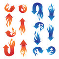 Red and blue fire arrow collections vector set Stock Images
