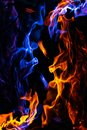 Red and blue fire on balck background Royalty Free Stock Photo