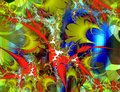Red blue gold pink silver fractal abstract background Royalty Free Stock Photo