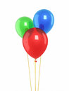 Red blue green balloons d render isolated and clipping path Royalty Free Stock Image