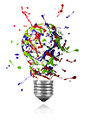 Red blue green paint burst made light bulb Royalty Free Stock Photo