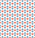 Red and blue heart pattern background