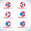 Red blue Hexagon and arrow corner logo vector design