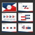 Red and blue infographic element and icon presentation templates flat design set for brochure flyer leaflet website Royalty Free Stock Photo