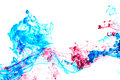 Red and blue ink in water Royalty Free Stock Photo