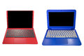Red and blue laptop isolated on white background Royalty Free Stock Photo