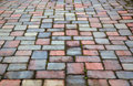 Red and blue paver patio Stock Photos