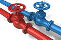 Red and blue pipelines Royalty Free Stock Image