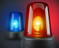 Red and blue police lights d illustration Stock Photos