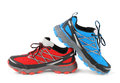 Red and blue running sport shoe Royalty Free Stock Photo