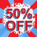 Red and blue sale poster with 50 PERCENT OFF text. Advertising banner