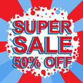 Red and blue sale poster with SUPER SALE 50 PERCENT OFF text. Advertising banner