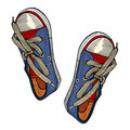 Red and blue sports sneakers