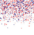 Red and blue stars falling from the sky on white background. 4th of July background. Independence day