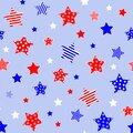 Red blue white stars on light blue background. Independence day 4th July colors. Seamless pattern. Vector illustration Royalty Free Stock Photo