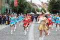 Red blue and yellow cheerleaders nicolae balcescu pedestrian street sibiu romania june sibiu international theatre festival Royalty Free Stock Photo