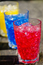 Red blue and yellow cocktails Royalty Free Stock Photos
