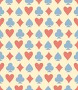 stock image of  Red, blue and yellow playing card seamless vector pattern
