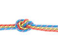 Red blue yellow rope knot Stock Photos