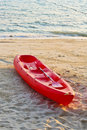 Red boat on the beach 2 Royalty Free Stock Images