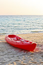 Red boat on the beach Royalty Free Stock Image