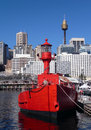 Red boat, light guide boat, Sydney, Australia Royalty Free Stock Images