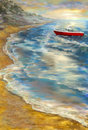 Red boat at the seacoast digital painting sketchy style Stock Photos