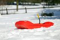 Red bob in the snow in the mountains Royalty Free Stock Photo