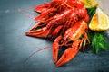 Red boiled crayfish. Crawfish Royalty Free Stock Photo
