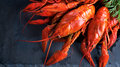 Red boiled crayfish on stone slate. Crawfish closeup Royalty Free Stock Photo