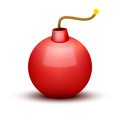 Red Bomb About To Blast with burning wick. Vector Royalty Free Stock Photo