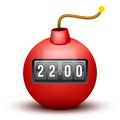 Red Bomb About To Blast with time counter. Vector Royalty Free Stock Photo