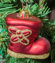 Red boot Christmas ornament tree, detail, close up Royalty Free Stock Photo
