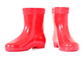 Red boots on white background Royalty Free Stock Photos