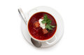 Red borsch in bundle jars isolated over white Royalty Free Stock Photo