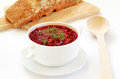 Red borscht soup with dill Royalty Free Stock Photo