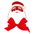Red bow and contour face of santa claus